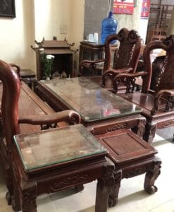 bộ bàn ghế gỗ hương cột 10 6 món
