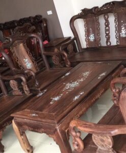 bàn ghế gỗ gụ quốc đào 8 món